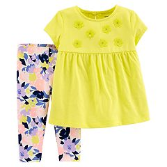 898c9b13d98 Baby Girl Carter s Babydoll Top   Floral Leggings Set