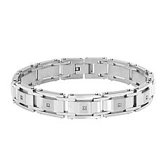 Stainless Steel Diamond Accents Men's Link Bracelet