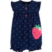 Baby Girl Carter's Polka-Dot Strawberry Romper