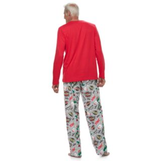 "Men's Jammies For Your Families ""Ho Ho Ho!"" Comic Book Top & Microfleece Bottoms Pajama Set"