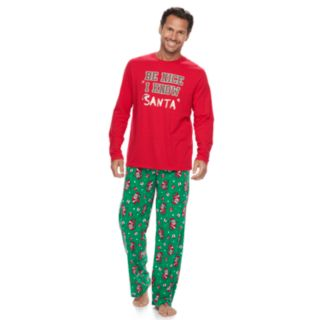 "Men's Jammies For Your Families ""Be Nice I Know Santa"" Top & Santa Microfleece Bottoms Pajama Set"
