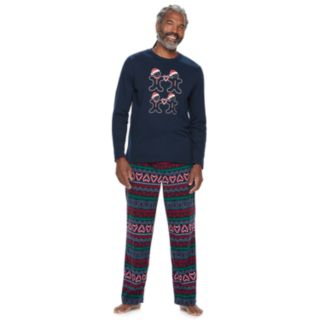 Men's Jammies For Your Families Gingerbread Man Holiday Top & Fairisle Microfleece Bottoms Pajama Set