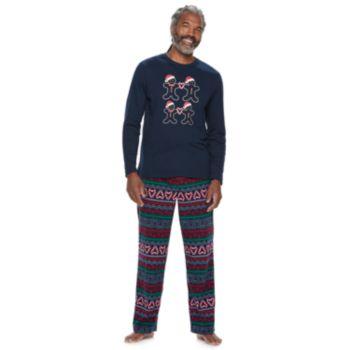 Men's Jammies For Your Families Gingerbread Man Holiday Top & Fairisle Microfleece Bottoms Pajama Set
