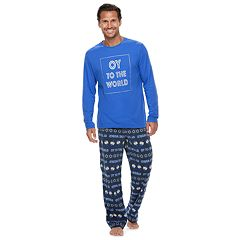 Men's Jammies For Your Families Hanukkah 'Oy to the World' Top & Microfleece Bottoms Pajama Set