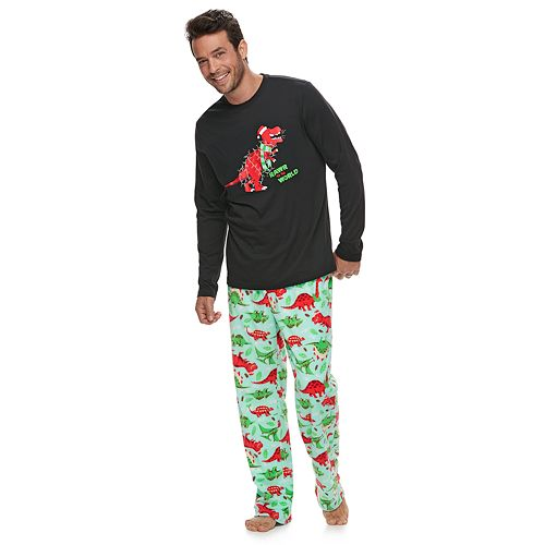 """Men's Jammies For Your Families Dino """"Rawr to the World"""" Top & Microfleece Bottoms Pajama Set"""