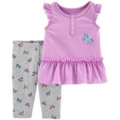 Baby Girl Carter's Unicorn Ruffled-Hem Top & Leggings Set