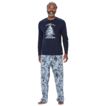 "Men's Jammies For Your Families Holiday Camouflage ""Wander in a Winter Wonderland"" Top & Microfleece Bottoms Pajama Set"