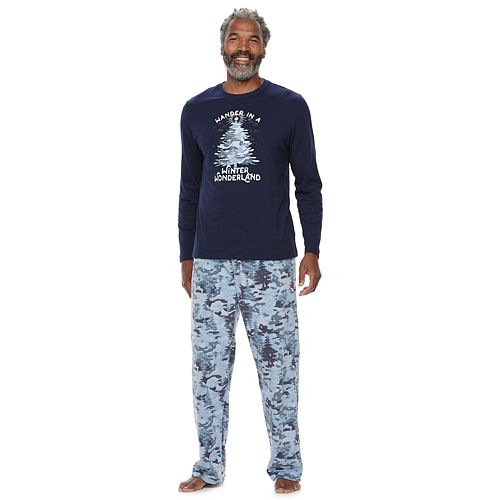 """Men's Jammies For Your Families Holiday Camouflage """"Wander in a Winter Wonderland"""" Top & Microfleece Bottoms Pajama Set"""