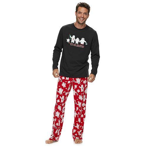 "Men's Jammies For Your Families ""Yeti For Christmas"" Top & Microfleece Bottoms Pajama Set"