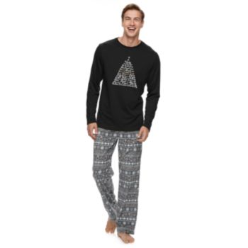 Men's Jammies For Your Families 12 Days of Christmas Top & Five Golden Rings Fairisle Microfleece Bottoms Pajama Set