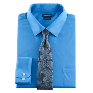 Big & Tall Croft & Barrow® Classic-Fit Stretch-Collar Dress Shirt and Patterned Tie Boxed Set