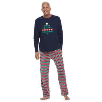 "Men's Jammies For Your Families ""This Family Loves Christmas"" Top & Microfleece Striped Bottoms Pajama Set"