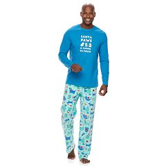 Men's Jammies For Your Families 'Santa Paws is Coming to Town' Top & Microfleece Dog & Cat Pattern Bottoms Pajama Set