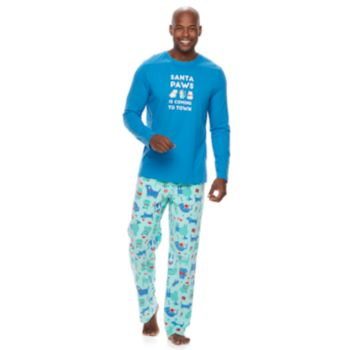 """Men's Jammies For Your Families """"Santa Paws is Coming to Town"""" Top & Microfleece Dog & Cat Pattern Bottoms Pajama Set"""