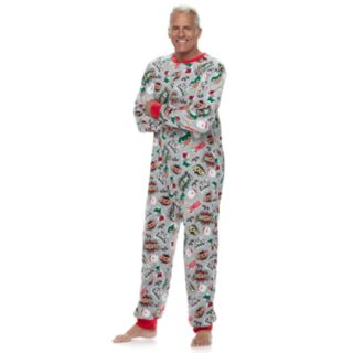Men's Jammies For Your Families Comic Book Microfleece One-Piece Pajamas