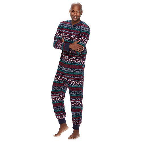 Men's Jammies For Your Families Gingerbread Man Holiday Fairisle Microfleece One-Piece Pajamas