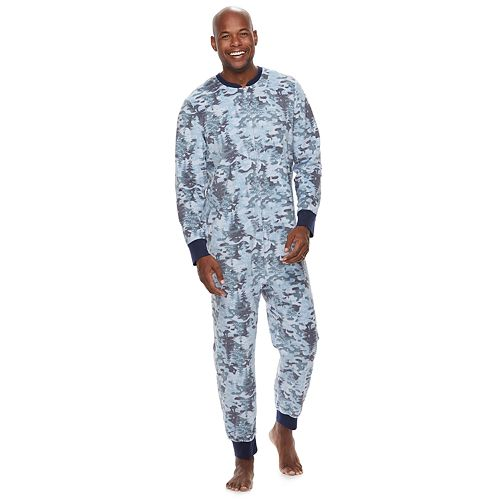 Men's Jammies For Your Families Holiday Camouflage Microfleece One-Piece Pajama Set