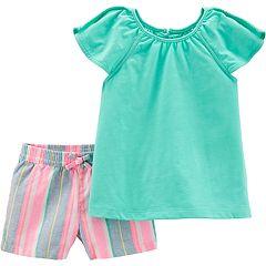 Baby Girl Carter's Flutter Tee & Striped Linen-Blend Shorts