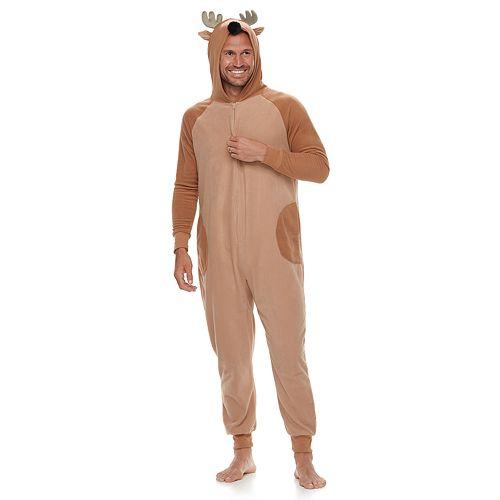 Men's Jammies For Your Families Reindeer Microfleece One-Piece Pajamas