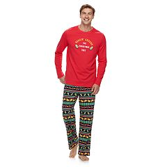 Men's Jammies For Your Families 'Guacin' Around the Christmas Tree' Top & Holiday Taco Party Fairisle Bottoms Set