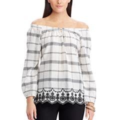 Women's Chaps Plaid Off-the-Shoulder Top