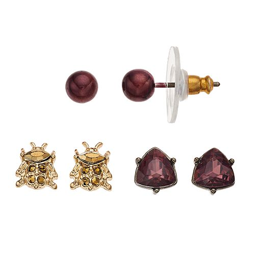 Simply Vera Vera Wang Red Beetle & Triangle Stud Earring Set