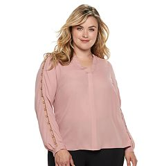 Plus Size Jennifer Lopez Embellished Chiffon Top