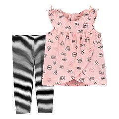 Baby Girl Carter's Graphic Tulip-Hem Top & Striped Leggings Set