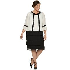 Plus Size Le Bos Tiered Dress & Jacket Set