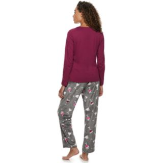 Women's Be Yourself Graphic Sleep Tee & Fleece Pants Pajama Set
