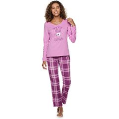 Women's Be Yourself Graphic Tee & Fleece Pants Pajama Set