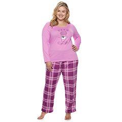 Plus Size Be Yourself Graphic Tee & Fleece Pants Pajama Set