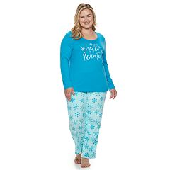Plus Size Be Yourself Graphic Tee & Fleece Pants Pajama Set