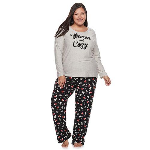 Plus Size Be Yourself Graphic Tee & Pants Pajama Set