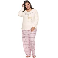 Plus Size Be Yourself Graphic Tee & Pants Pajama Set