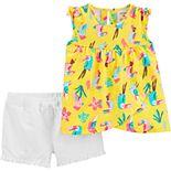 Baby Girl Carter's Toucan Tank Top & Ruffled Shorts Set