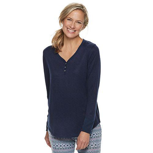 Women's Croft & Barrow® Henley Pajama Tee