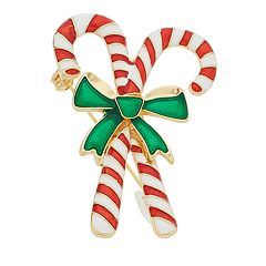 Striped Candy Cane & Green Bow Holiday Pin