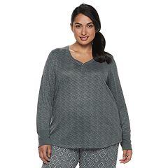Plus Size Croft & Barrow® Henley Pajama Tee