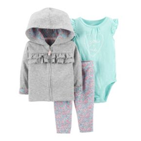 "Baby Girl Carter's Ruffled Hoodie, ""You & Me"" Bodysuit & Floral Leggings Set"
