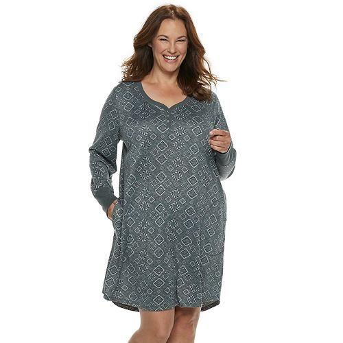 Plus Size Croft & Barrow® Henley Sleepshirt