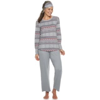 Women's Croft & Barrow® Printed 3-piece Tee & Pants Pajama Set
