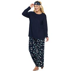Plus Size Croft & Barrow® Printed 3-piece Tee & Pants Pajama Set