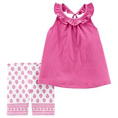 Baby Girl Carter's Ruffled Tank Top & Jacquard Shorts Set