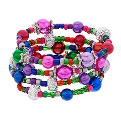 Multi Colored Bead Holiday Coil Bracelet