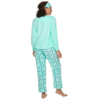 Women's Croft & Barrow® 3-piece Tee & Pants Fleece Pajama Set