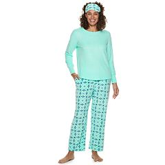 Women's Croft & Barrow® 3-piece Tee & Pants Fleece Pajama Set