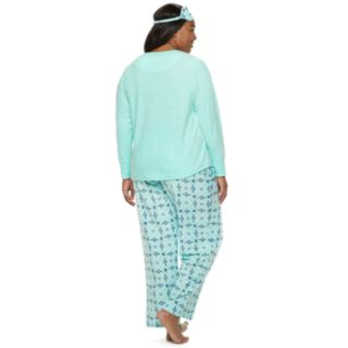 Plus Size Croft & Barrow® 3-piece Tee & Pants Fleece Pajama Set
