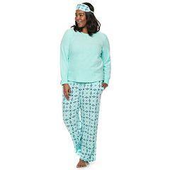 Plus Size Croft & Barrow® 3-piece Tee & Pants Fleece Pajama Set