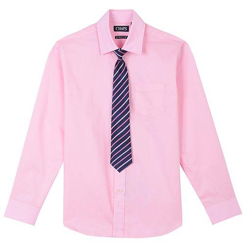 Boys 4-20 Chaps Stretch Shirt & Tie Set